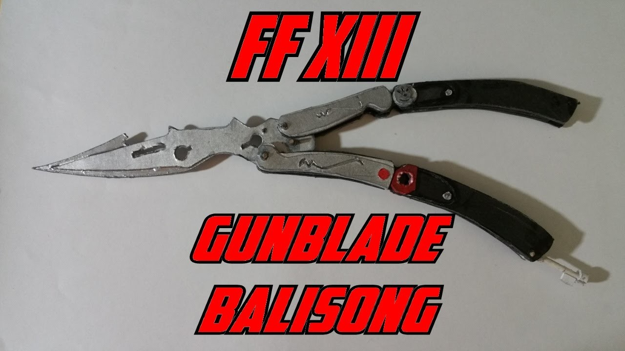 Paper Final Fantasy XIII Gunblade Butterfly Knife Hybrid