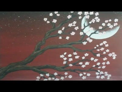 Acrylic Painting on Canvas : Cherry Blossom Moon : Demonstration