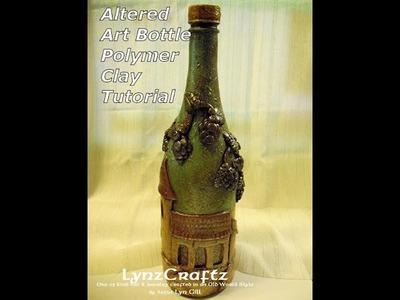 Altered Art Bottle polymer clay Italian Villa pt2