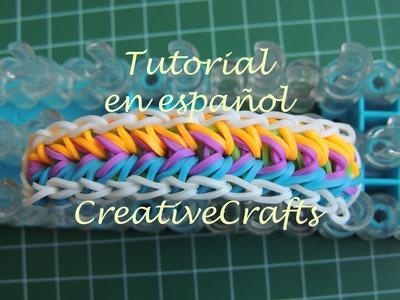 Como hacer una pulsera de gomitas Feather. Rainbow Loom Feather Bracelet.