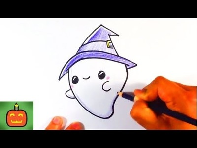 How to Draw a Cute Halloween Ghost with a Hat - Halloween Drawings