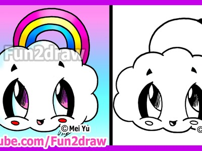 How to Draw Cartoons - Rainbow Cloud - Fun2draw Cute Easy Things