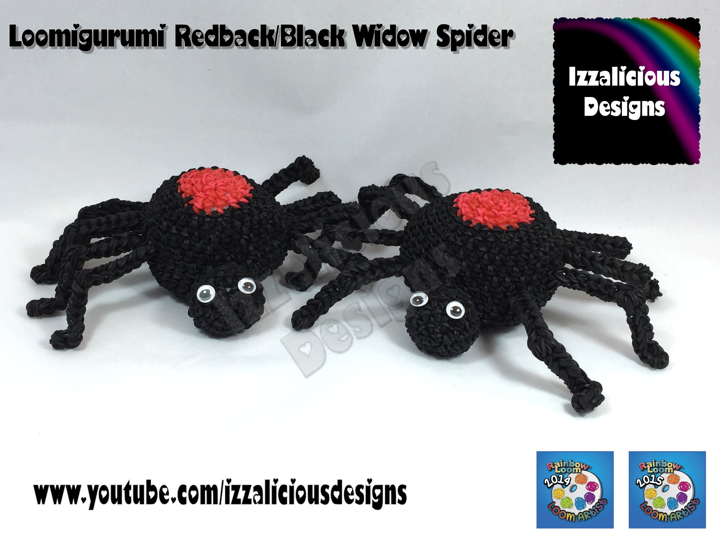Loomigurumi Spider | Black Widow for Halloween - hook only - amigurumi with Rainbow Loom Bands