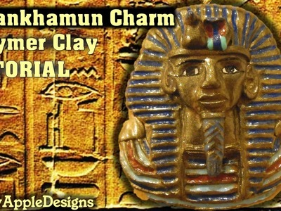 Polymer Clay Mask Of Tutankhamun Pendant.Charm Tutorial