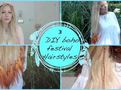 3 DIY Hairstyles ❤️|Feather Extensions, Summer Hair Wrap and Dainty Flower Crown