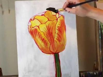 Acrylic Tulip Painting Tutorial