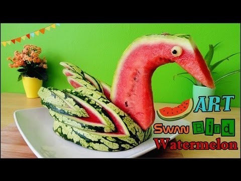 Art In Watermelon Swan | Food Carving Bird Garnish | Fruit Decoration