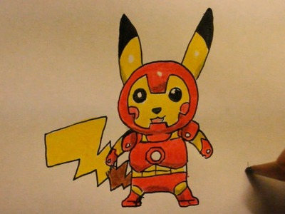 How To Draw Pickachu Step By Step Iron Man Style|Easy|For Beginners|On Paper