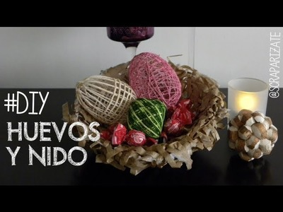 PASCUA: Huevos y nido decoración. Bird nest and eggs
