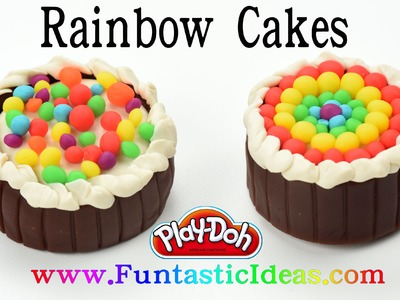 Play Doh Rainbow Cake Chocolate - How to with Playdough Easy Fun DIY Idea