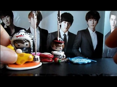 Polymer clay creations (kpop related charms, photoholders)
