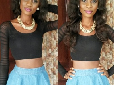 DIY: How To Turn Your Old Tights.Leggings Into A Cute Crop Top