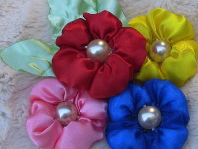 HOW TO MAKE ROLLED RIBBON ROSES- fabric flowers- FLOX  com enchimento passo a passo