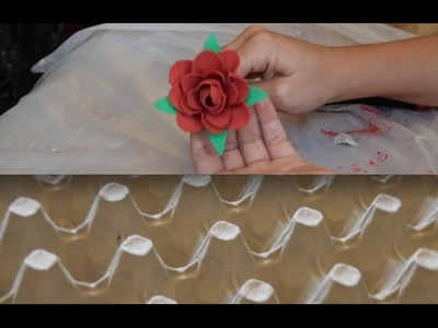 Make Rose Flower with Egg Carton. DIY