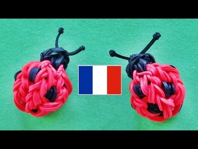 Rainbow Loom Francais: Coccinelle  (Bracelet Elastique de loom bands)