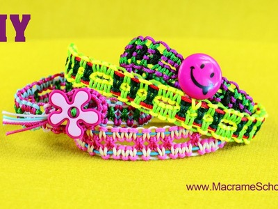 DIY Easy Square Knot Friendship Bracelets with Button Clasp