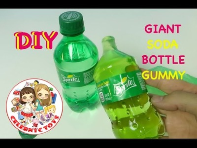 DIY Giant Gummy Sprite Bottle  - How To Make Giant Gummy Soda 7 Up At Home Recipe