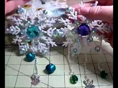 DIY~Make Gorgeous Blinged Out Plastic Snowflake Ornaments!