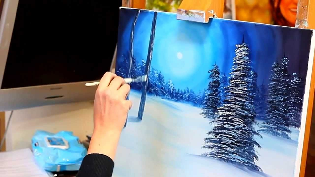 Paint with Maz - Silent Night - Full Step by Step Tutorial