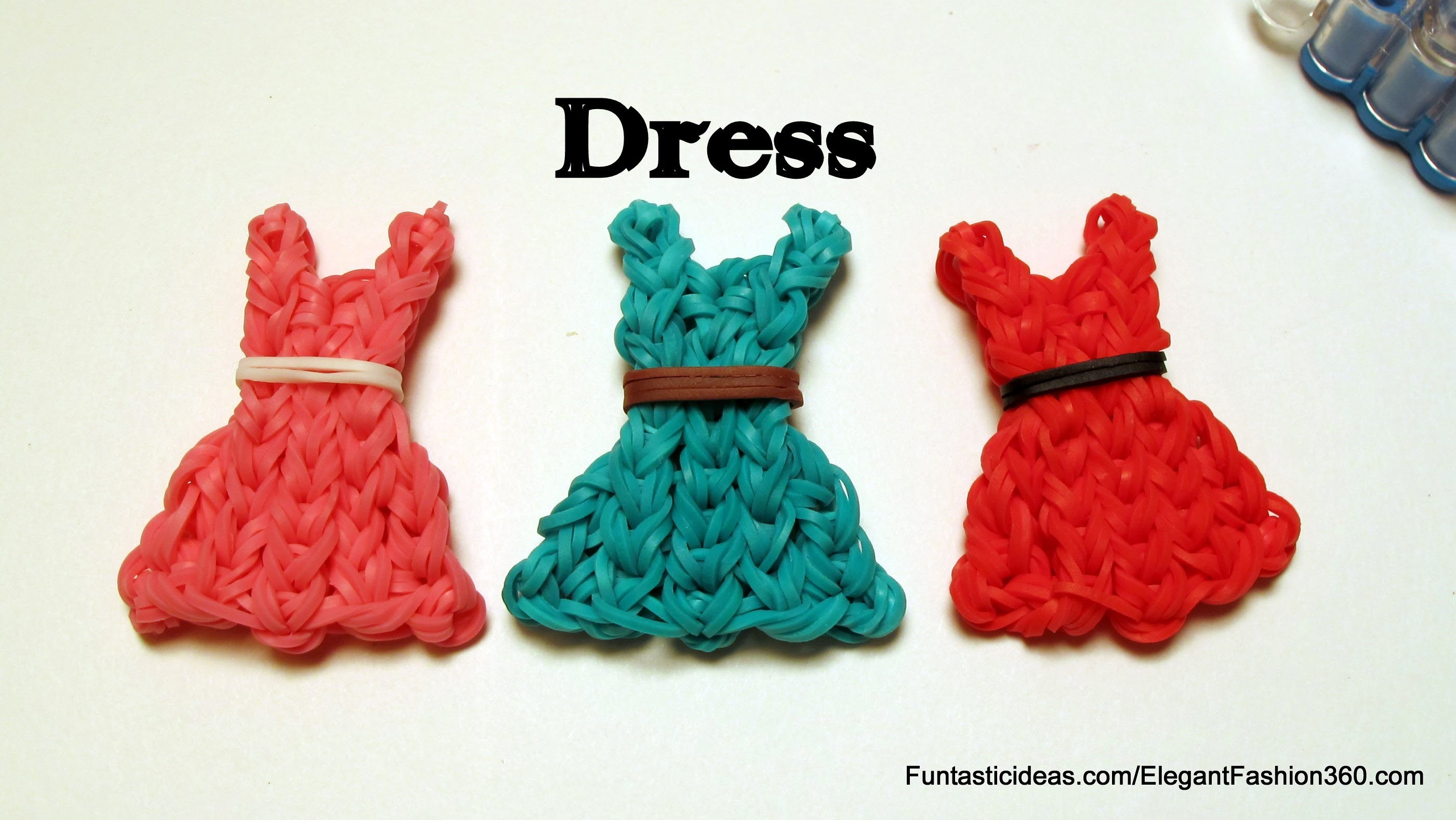Rainbow Loom Bands Dress emoji.emoticon charm - How to - Mother's Day