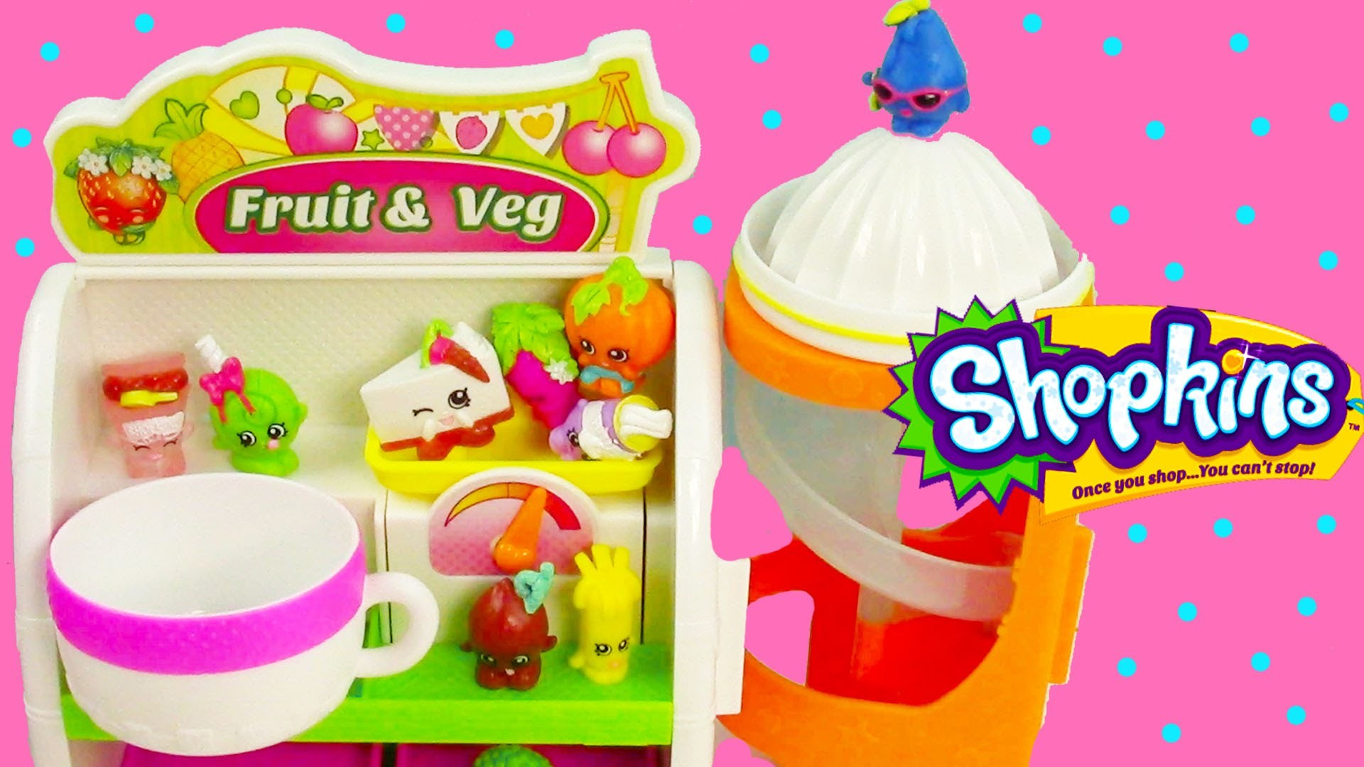 Shopkins Season 1 Easy Squeezy Fruit & Vegetable Stand Slide Playset Exclusive Unboxing Review