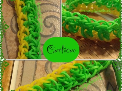 Curlicue Bracelet tutorial (hook only) rainbow loom bands