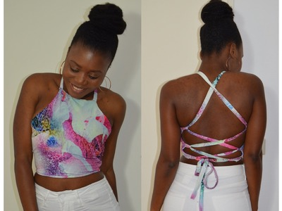 DIY Laced Back  Halter Top ( Easy Sewing)