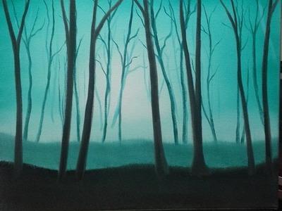 Easy oil painting for beginners misty forest wet on wet