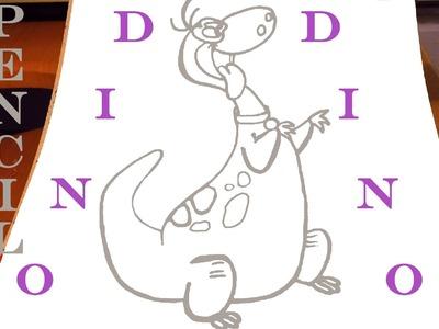How to draw a Dinosaur DINO Easy - The Flintstones - Cartoon Network | PENCIL | SPEEDY