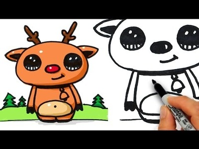 How to Draw Cute Rudolph The Red Nosed Reindeer Easy Beginner