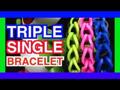 HOW TO MAKE A RAINBOW LOOM BRACELET TRIPLE SINGLE DESIGN TUTORIAL
