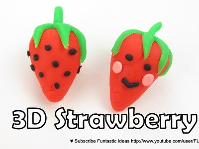 Play Doh 3D Strawberry.Happy Strawberry charms - How to tutorial