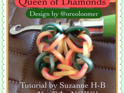 Queen of Diamonds bracelet tutorial (hook only) rainbow loom bands
