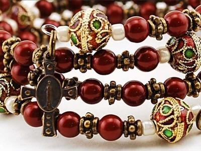 Swarovski Crystal Maroon Rosary Bracelet