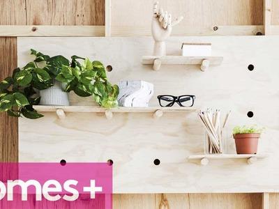 DIY IDEA: Plywood pegboard shelf - homes+