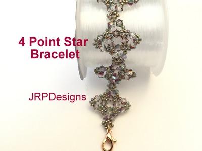 Four point star Bracelet--Beginner to intermediate tutorial