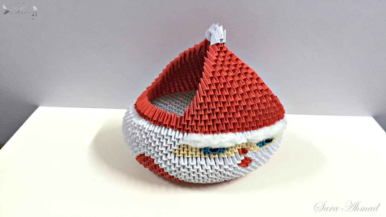 How to make 3d origami Basket Santa Claus