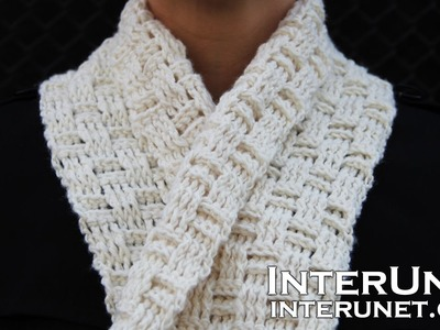 Crochet a scarf - easy for beginners pattern using double crochet stitch