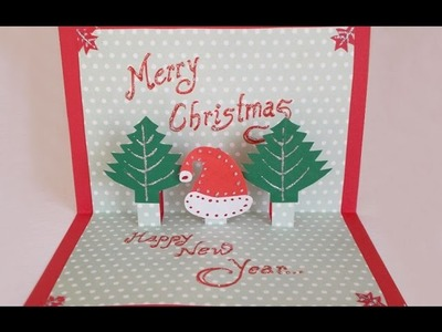 DIY Paper Craft :How to Make an Easy Handmade Christmas Pop up Greeting Card