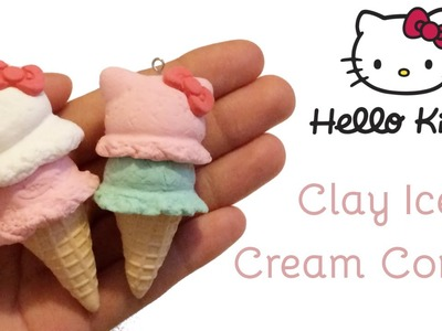 Hello Kitty Ice Cream Cones | Air Dry Clay Tutorial