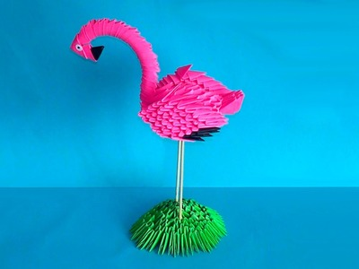 How to make 3D origami bird flamingo master class (tutorial)