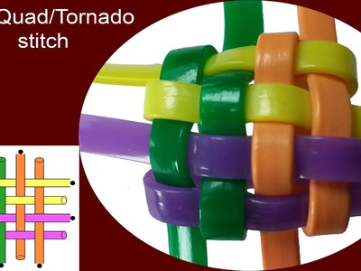Start a Quad.Tornado stitch Lanyard.Scoubidou with a cardboard