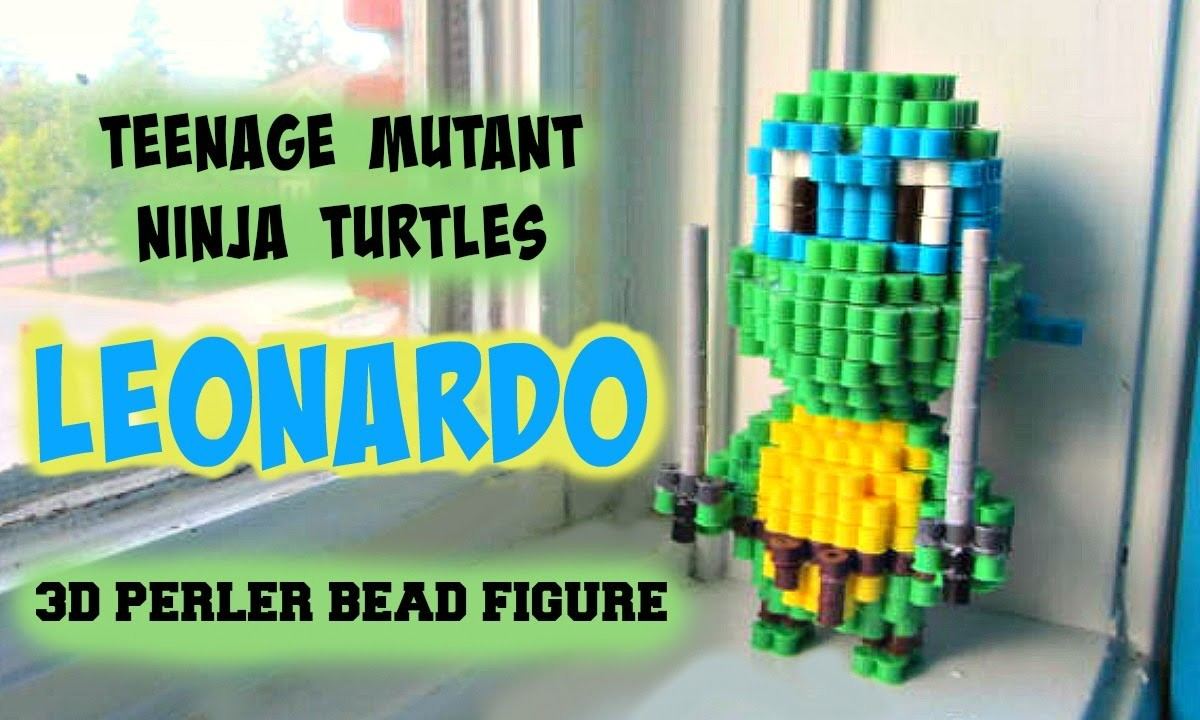 Teenage Mutant Ninja Turtles Leonardo 3D Perler Bead Figure (FULL TUTORIAL)