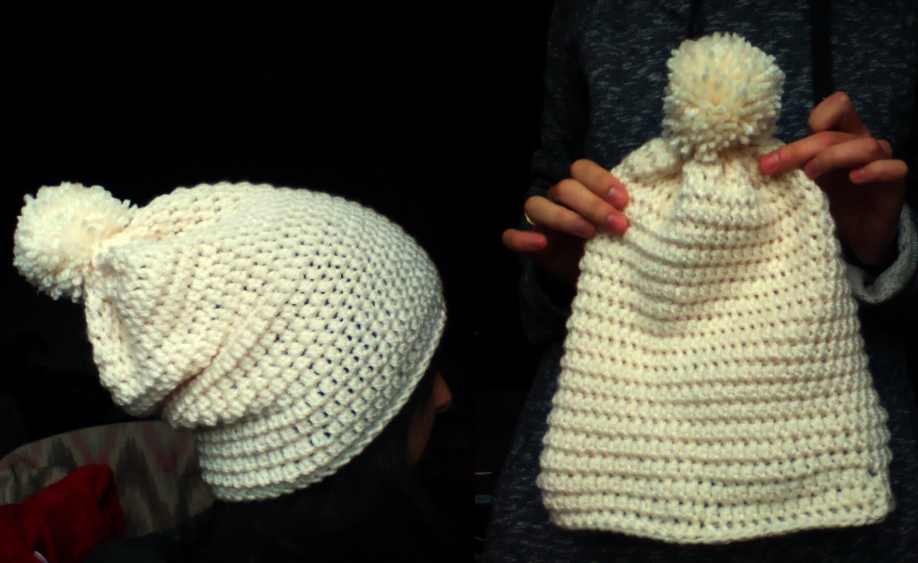 Crochet white slouchy hat