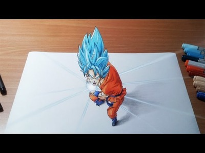 Drawing Goku Super Saiyan God Super Saiyan Kamehameha in 3D