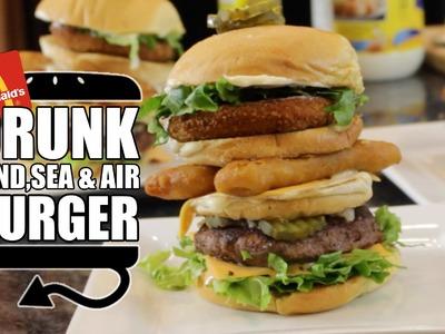 DRUNK Land Sea & Air Burger McDonald's Secret Menu Recipe Remake  |  HellthyJunkFood
