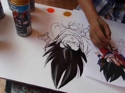 Goku spray paint art