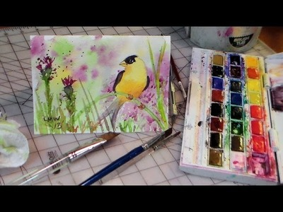 How to draw and paint goldfinch watercolor