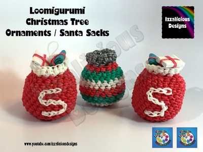 Loomigurumi Christmas Tree Ornament Santa Sack - amigurumi w. Rainbow Loom Bands