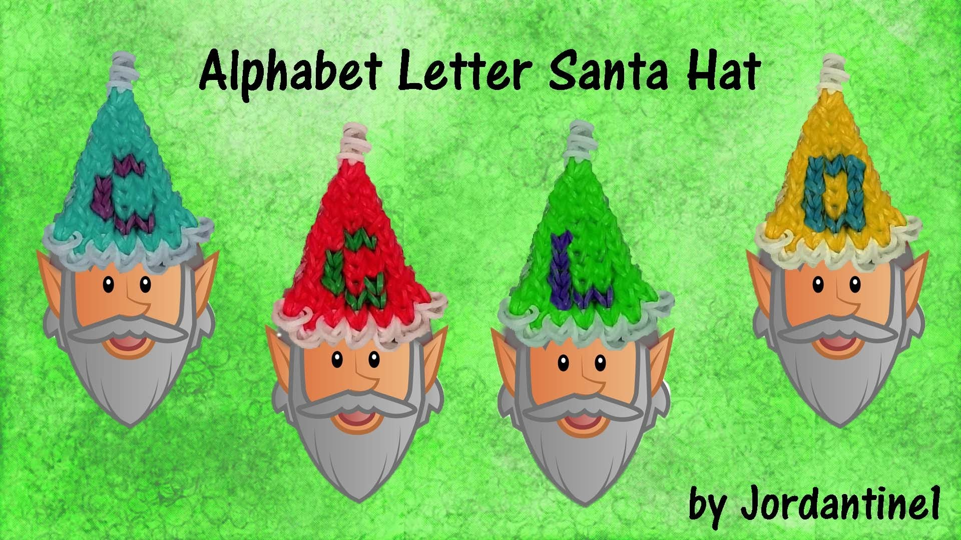 New Christmas Alphabet Letter Santa. Elf Hat Charm - Rainbow Loom. Alpha Loom - Quick & Easy